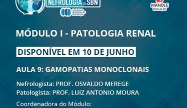 A aula 9 do 1º Módulo do Curso de Atualização da SBN sobre Patologia Renal estará disponível em 10 de junho